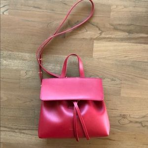 Mansur Gavriel Calf Mini Mini Lady Bag, Flamma Red